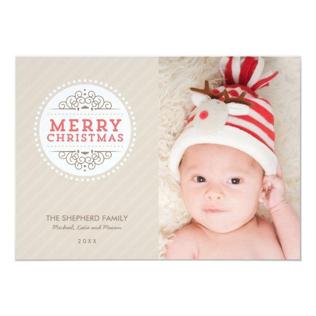 Merry Christmas Modern Holiday Photo Card