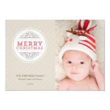 Merry Christmas Modern Holiday Photo Card Custom Invites