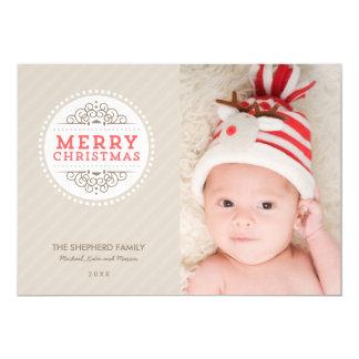 "Merry Christmas Modern Holiday Photo Card 5"" X 7"" Invitation Card"