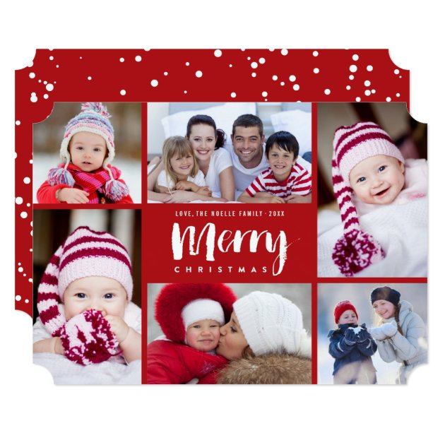 merry christmas modern holiday photo collage card