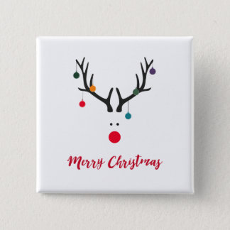 Merry Christmas modern minimalist reindeer white Button