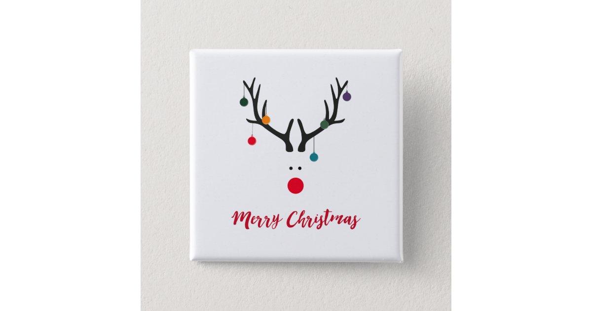 Merry Christmas Modern Minimalist Reindeer White Button