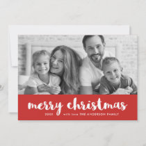 Merry Christmas | Modern Red and White and Photo Holiday Card