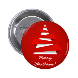 Merry Christmas modern red christmas tree design Pinback Buttons