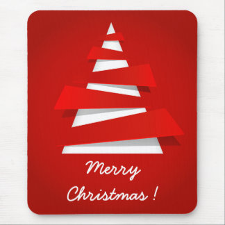 Merry Christmas modern red christmas tree design Mouse Pad