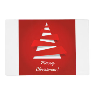 Merry Christmas modern red christmas tree design Laminated Placemat