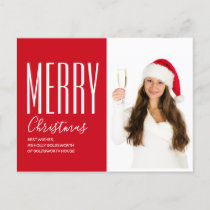 Merry Christmas Modern Red Personalized Photo Holiday Postcard