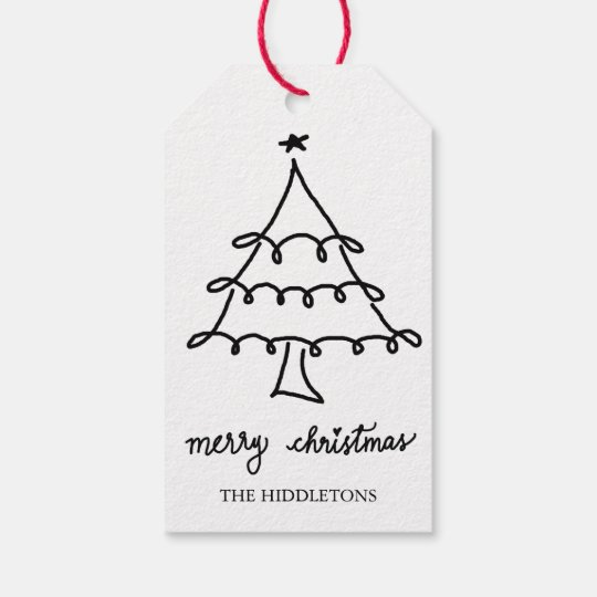 Merry Christmas Modern Script Christmas Tree Gift Tags ...