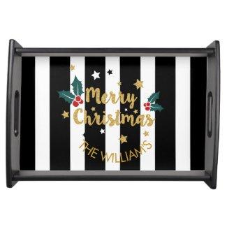 Merry Christmas Modern Stripes & Glitter Serving Platter