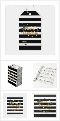 Merry Christmas Modern Stripes & Gold Glitter