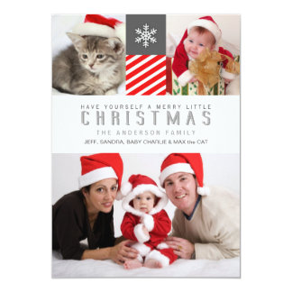 Merry Christmas Modern Stripes Holiday Photo Cards Personalized Announcements