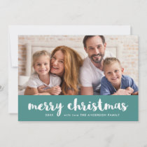 Merry Christmas | Modern Teal and White and Photo Holiday Card