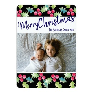 Merry Christmas Modern Text and Holly Berry