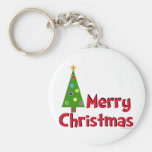 Merry Christmas, Modern Tree Key Chains