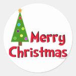 Merry Christmas, Modern Tree Round Sticker