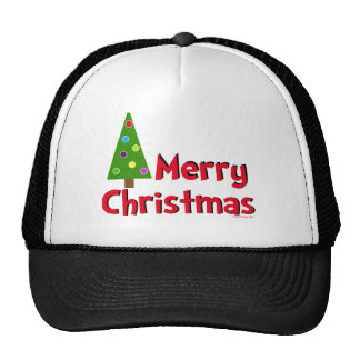 Merry Christmas, Modern Tree Trucker Hat