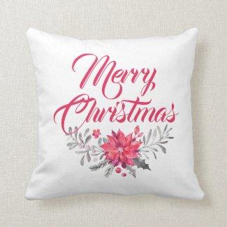 Merry Christmas Modern Typography & Flowers