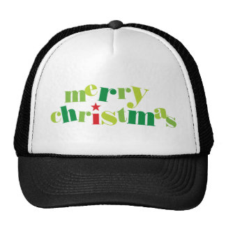 merry christmas modern typography mesh hat