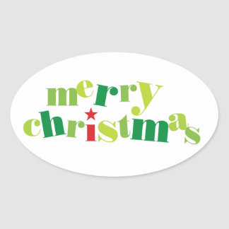 merry christmas modern typography oval stickers