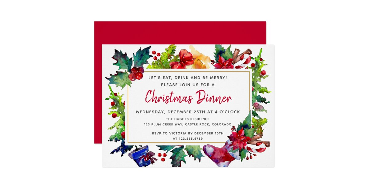 Merry Christmas Modern Watercolor Christmas Dinner Invitation Zazzle Com