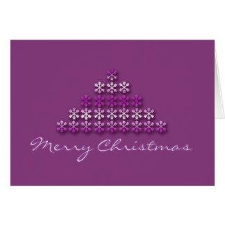 Merry Christmas modern xmas tree pink & white Card