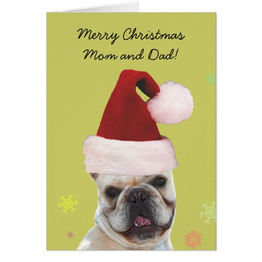Merry christmas mom and dad french bulldog card