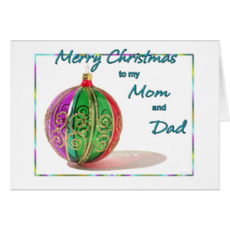 Merry Christmas Mom and Dad Multicolored Glass Bal Card