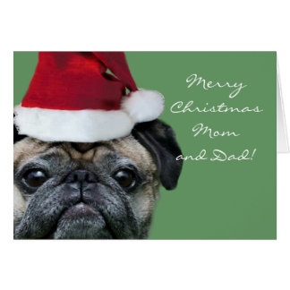 Merry Christmas Mom and Dad Pug greeeting card