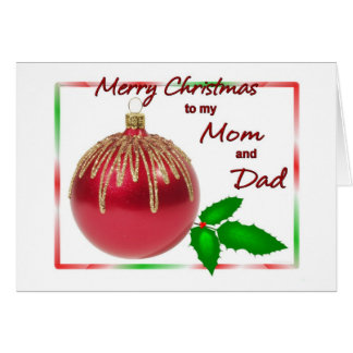 Merry Christmas Mom and Dad Red and Gold Ball with Card