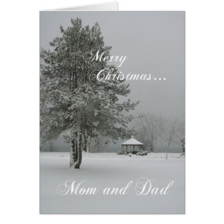 Merry Christmas Mom and Dad-Snowscene Card
