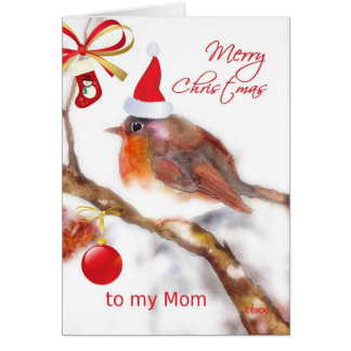merry christmas Mom, cute sparrow red hat ornament Card