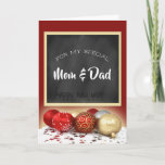 """Merry Christmas Mom & Dad Chalkboard and Ornaments Holiday Card<br><div class=""""desc"""">A beautiful card with a special message for your mother and father this Christmas season done with a trendy chalkboard motif.</div>"""