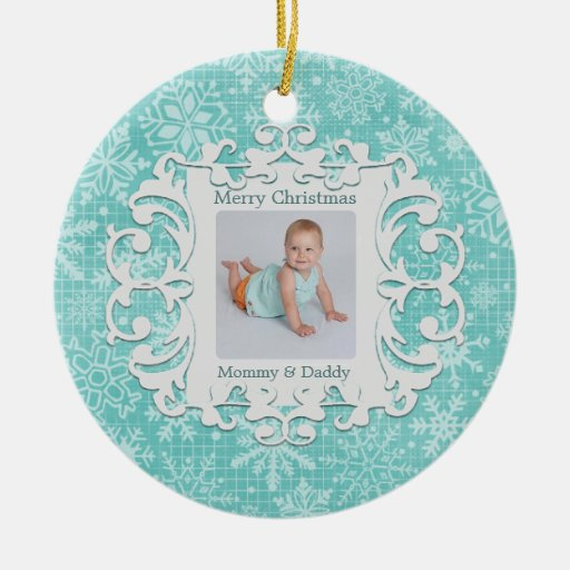 Merry Christmas Mommy and Daddy Holiday Photo Double-Sided Ceramic Round Christmas Ornament
