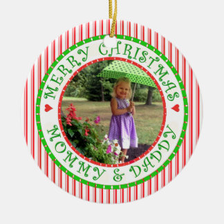 Merry Christmas Mommy and Daddy Photo Candycane Ceramic Ornament