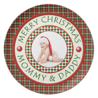 Merry Christmas Mommy and Daddy Photo Melamine Plate