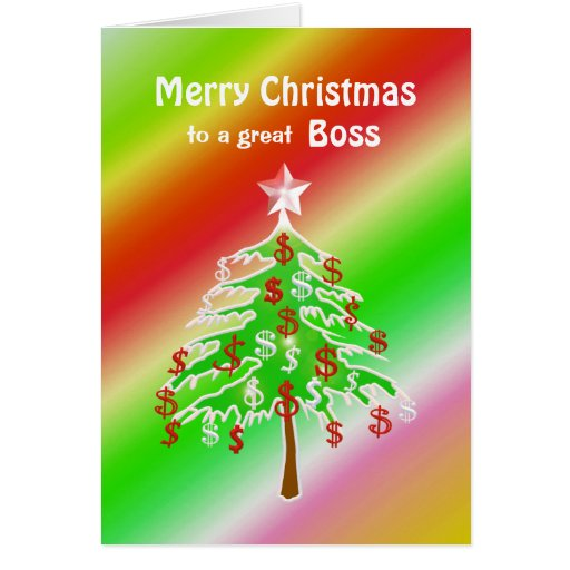 merry christmas money tree for boss greeting cards zazzle
