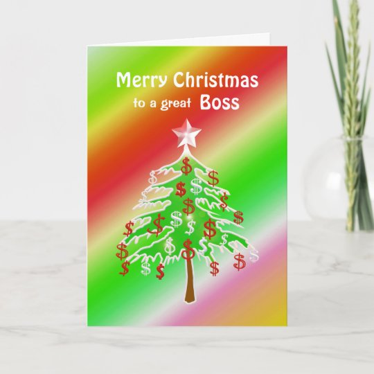 Merry Christmas Boss.Merry Christmas Money Tree For Boss Holiday Card