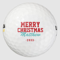 Merry Christmas Monogram Golf Balls