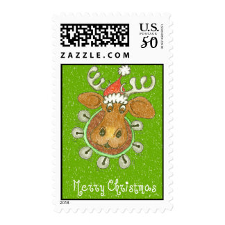 Merry Christmas Moose With Jingle Bells Postage