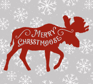 merry christmas moose with snowflakes paper plate - Christmas Moose