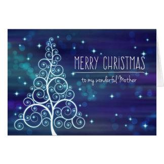Merry Christmas Mother, Swirled Tree Bokeh Effect Greeting Card