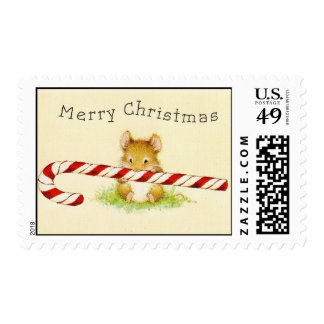 """""""Merry Christmas Mouse"""" Custom Postage Stamps"""