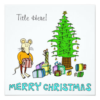 Merry Christmas - Mouse Opening Presents Card
