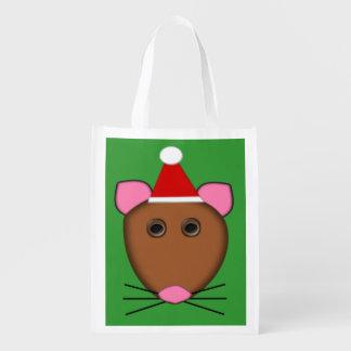 Merry Christmas Mouse Reusable Bag Grocery Bags