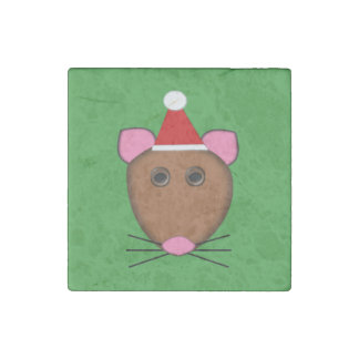 Merry Christmas Mouse Stone Magnet