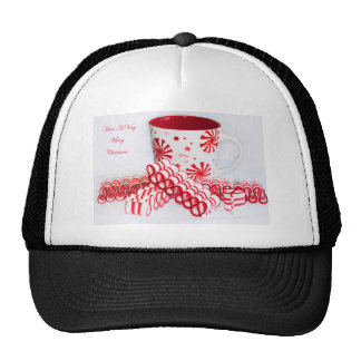 Merry Christmas Mug and Ribbon Candy Trucker Hat