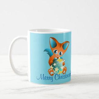 Merry christmas mug with boy fox