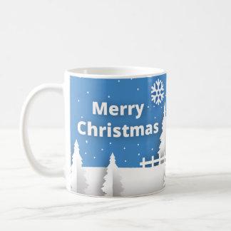 Merry Christmas mug with snow background