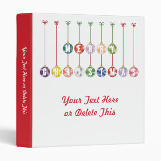 Merry Christmas Multicolored Glass Ball Ornaments Binders