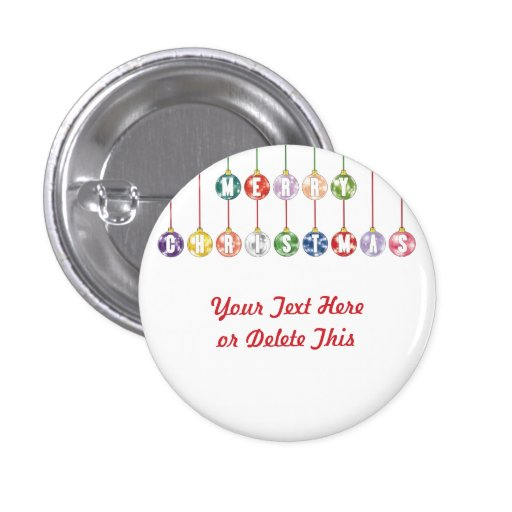 Merry Christmas Multicolored Glass Ball Ornaments Pin
